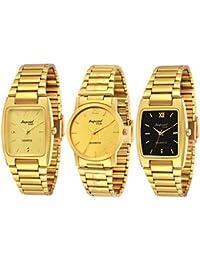Imperial Club Analogue Quartz Movement Golden Dial Men's Watch Combo - wcm-004 (Pack of 3)