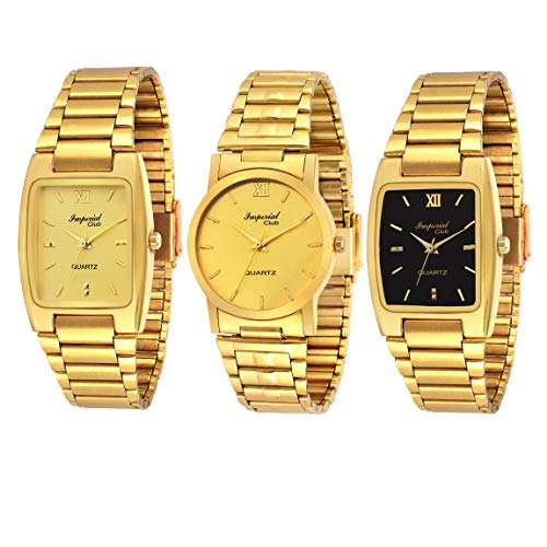 Imperial Club Analogue Quartz Movement Golden Dial Men's Watch Combo - wcm-004 (Pack of 3)
