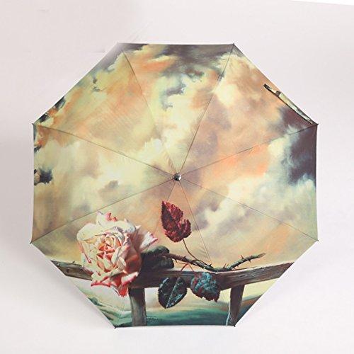 Femme Léger Parapluie pliant automatique Parapluie UV Sunscreen Creative double Parapluie Transparent Parapluie Petit frais