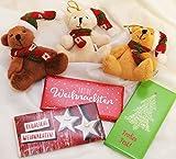 Unbekannt Geschenkset 101 : Mini Weihnachtsteddy mit Mütze und Schal ca. 7 cm & Schokolade Frohe Weihnachten rot/weiß 40 g - Sie erhalten 1 Teddy + 1 Schokolade a.d. Sortiment
