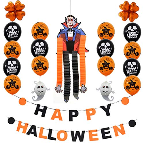 BESTOYARD Happy Halloween Brief Banner Halloween Party Dekorationen Set Latex Ballons Banner DIY Cartoon Papier Hängende Ornamente Foto Requisiten (Vampir)