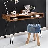 FineBuy Massiver Schreibtisch Harlem Sheesham Massiv Holz 110 x 60 x 76 cm mit Ablage | Computertisch Massivholz mit Metall Beinen | Design Holz PC Tisch
