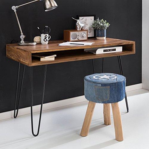 FineBuy Massiver Schreibtisch Harlem Sheesham Massiv Holz 110 x 60 x 76 cm mit Ablage | Computertisch Massivholz mit Metall Beinen | Design Holz PC Tisch - 60 Holz