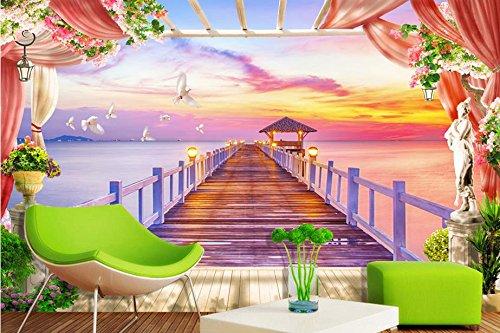 Preisvergleich Produktbild Lqwx Anpassen Hintergrundbild Für Wände 3D Wallpaper Malediven Chalet Brücke 3D Wandbilder Tapeten Home Decor Wohnzimmer 350 Cmx 245 Cm