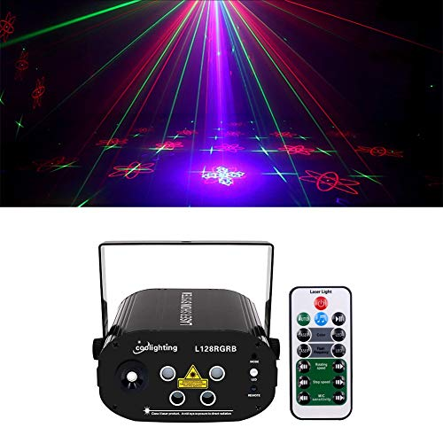 co Lichter Sound aktiviert Bühneneffekt Projektor Stroboskop Lichter mit Fernbedienung Mini Karaoke für Geburtstagsfeiern Hochzeit KTV Bar Tanzen Weihnachten Halloween Dekorationen ()