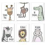 Set di 6 immagini per la cameretta dei bambini, formato DIN A4, senza cornice, per la cameretta dei bambini, decorazione per la cameretta dei bambini, animali della foresta