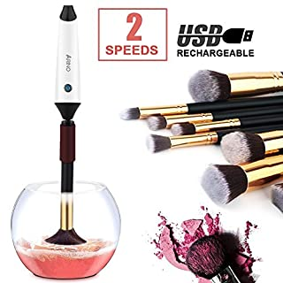 ARINO Automatisches Kosmetikpinsel Reinigungsgerät Elektronischer Pinselreiniger Makeup Brush Cleaner Machine Wiederaufladbares Trockner Gerät für Kosmetikpinksel mit USB Ladestation Schwarz