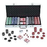 HOMCOM Mallette Profesionnelle Coffret de Poker avec 500 Jetons 2 Jeux de Carte 1 Bouton Dealer Alu Argent Neuf 14