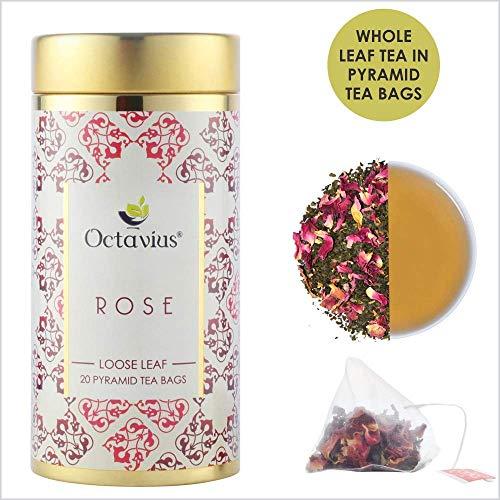 Octavius Rose Green Tea Whole Leaf Pyramid - 20 Pyramid Tea Bags - 40 gm (1.41 OZ) Rose-iced Tea