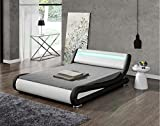 Modern Italian Designer Bed Frame Upholstered in Faux Leather LED Double or King by Limitless Home (Black and White, Double)