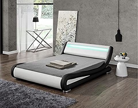 Modern Italian Designer Bed Frame Upholstered in Faux Leather LED Double or King by Limitless Base (Black and White, Double)
