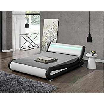 Modern Italian Designer Bed Frame Upholstered in Faux Leather LED Double or  King by Limitless Base. Modern Italian Designer Bed Frame Upholstered in Faux Leather LED