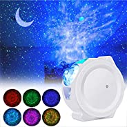 LED Night Light Projector, 3-in-1 Star Night Light Ocean Wave Projector Light Decorative Moon Light with Sound