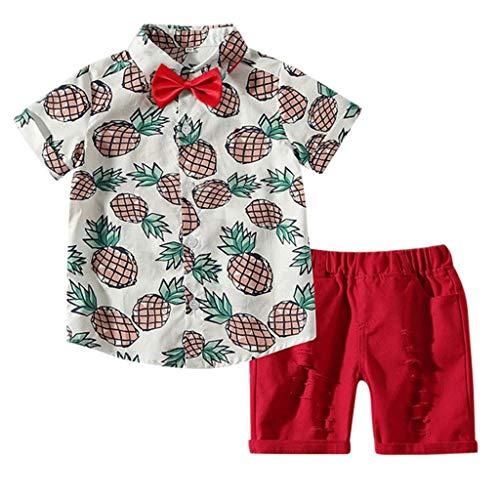 Fenverk_Baby Kleidung, Baby Jungen Sommer Gentleman Bowtie Kurzarm Shirt + Hosenträger Shorts Outfit Set (Weiß-02,6-12 Monate)