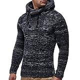 Ode_Joy Giacca da uomo con cappuccio casual Cappotto di cardigan lavorato a maglia pullover autunno inverno-manica lunga -taglio ampio, in cotone effetto denim, casual
