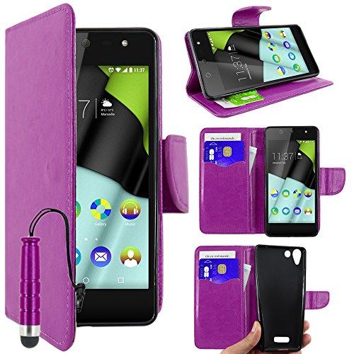 ebestStar - Wiko Selfy 4G Hülle Kunstleder Wallet Case Handyhülle [PU Leder], Kartenfächern, Standfunktion + Mini Stift, Lila [: 141 x 68.4 x 7.7mm, 4.8'']