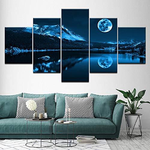 rei See Bei Nacht Natur Landschaft 5 Stücke Wandkunst Malerei Modulare Tapeten Poster Drucken Wohnzimmer Wohnkultur-20X35/45/55Cm,With Frame ()