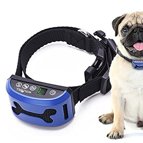 Anti Bark Advanced Dog Collar, Wolfwill Harmless 3 Mode Waterproof Dog Training Collar with Rechargeable Digital Display 7 Level Sensitivity Beep Vibration (Safely And Humanely)