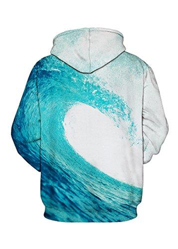 Sanrense Galaxy Hoodie Männer Bunte HD 3D gedruckte Pullover Unisex Langarm Lustige Weihnachten Patterned Sweatshirts für Teens Pullover blue waves