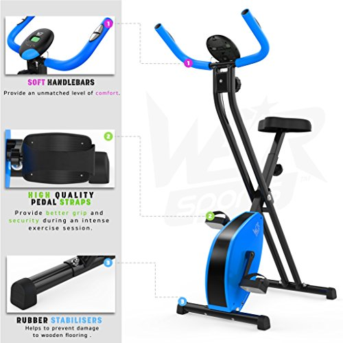 Hometrainer, X-Bike, zusammenklappbar, magnetisch, für Fitness, Cardio, Workout, Gewichtsabbau - 6