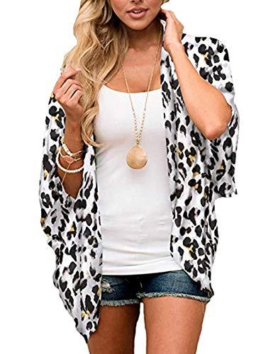 Leopard-print-kimono (Oudiya+Strandkleid Damen Chiffon Kimono Cardigan Einfarbig Print 3/4 Arm Sommer Cover up Schwarz Leichte Strand Jacke (Leopard-C, XXL))