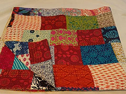 Tribal Asian Textiles Multi color Block Print Patchwork Queen Size Kantha Quilt , Kantha Blanket, Bed Cover, King Kantha bedspread, Bohemian Bedding Kantha Size 90 Inch x 108 Inch 1111 by Tribal Asian Textiles