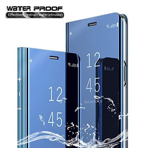 COWEN Für Samsung Galaxy A20e Hülle,ultradünnen Spiegel für mit Standfunktion flip case,Mirror Case Protective Flip Für Samsung Galaxy A20e Hülle-Blau Case Protective Film