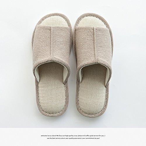 DogHaccd pantofole,Si accoppia il pavimento della camera lino pantofole quattro femmina-stagione soggiorno silenzioso e deodorazione fondo soffice biancheria di cotone pantofole estate maschio Caffè di luce4
