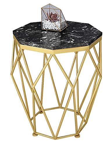 Table d'appoint en Fer forgé/Table Basse en marbre, Petit Appartement Simple, mobilier de Table de Salon Moderne, Support en métal, Rond, Or/Noir (47 × 47 × 56cm)