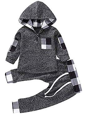 Babykleidung Neugeborene Winter,Covermason Säugling Kleinkind Baby Jungen Mädchen Plaid Pullover mit Kapuze Oberteile...