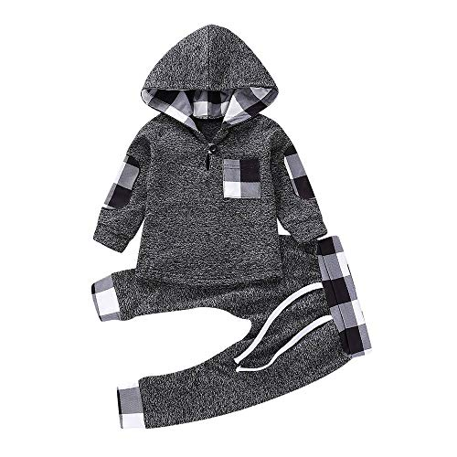 Kleinkind Baby Mädchen Bekleidungssets Jungenbekleidung Jungen Mädchenbekleidung Schlafanzug Set Plaid Hooded Pullover Tops Hosen Outfits Set Felicove (Alte 0-6 Halloween-kostüme Monate)