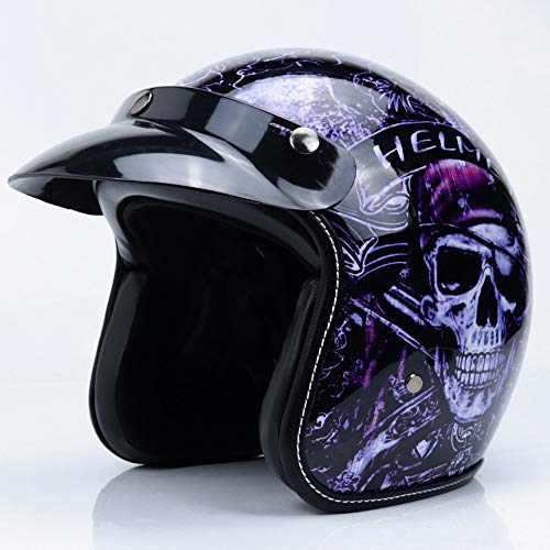 Casco De Moto Abierto, Unisex Personalidad Moda Cascos para Moto Cascos Abiertos Visera Parasol ExtraíBle, Interiores HipoalergéNicos Y Transpirables Dot Homologado