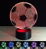 Art Deco Lampen, LED Nachtlampe der LED 3D Farbe die geführte Lichter, Kind-Raum Ausgangsdekoration-bestes Geschenk, Noten Kontroll Licht 7 Farben ändert USB angetriebene Schreibtisch Lampen (Fußball)
