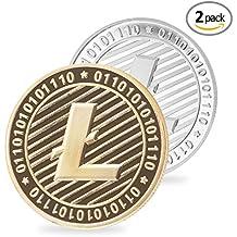 Set de 2 oro y plata Plated 1oz Litecoin redondo coleccionistas moneda conmemorativa medalla