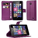 Cadorabo - Funda Nokia Lumia 630 / 635 Book Style de Cuero Sintético en Diseño Libro - Etui Case Cover Carcasa Caja Protección (con función de suporte y tarjetero) en VIOLETA-DE-MANGANESO