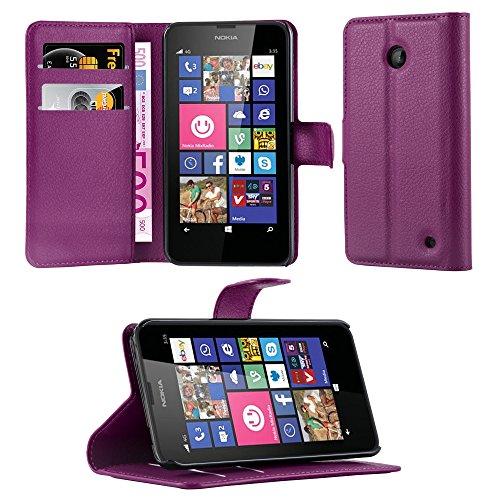 Cadorabo - Etui Housse pour > Nokia Lumia 630 / 635 < – Coque Case Cover Bumper Portefeuille (avec stand horizontale et fentes pour cartes) en ORCHIDÉE VIOLETS