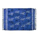 MANUMAR Damen Pareo blickdicht, Sarong Strandtuch in royal blau schwarz mit Delfin Motiv, XXL Übergröße 225x115cm, Handtuch Sommer Kleid im Hippie Look, für Sauna Hamam Lunghi Bikini