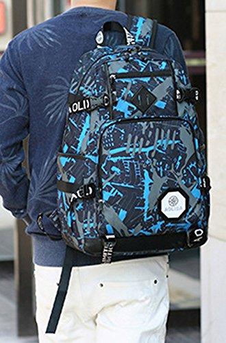 5 All Damen Herren Neu Fashion Gut Aussehend Bergsteigen Tasche Canvas Rucksack Schulrucksack Reisetasche Casual Daypacks Cityrucksack für Universität Outdoor Freizeit 31 x 15 x 46cm Blau 3
