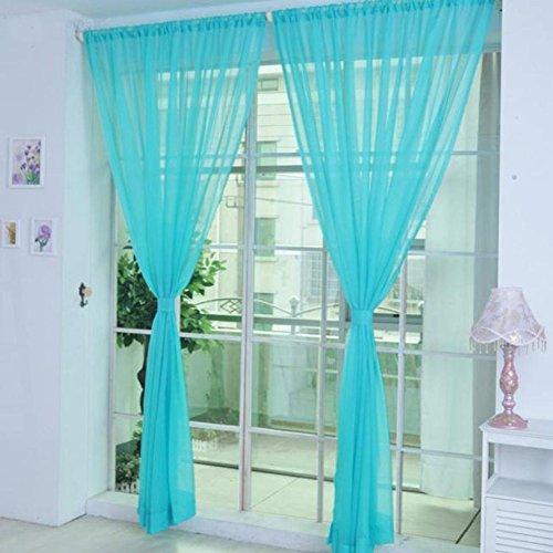 tangbasi 2Farbe Tüll Voile Tür Fenster Vorhang Drapes transluzent Sheer Panels Volants, blau, Einheitsgröße (Fenster Volant Blau)