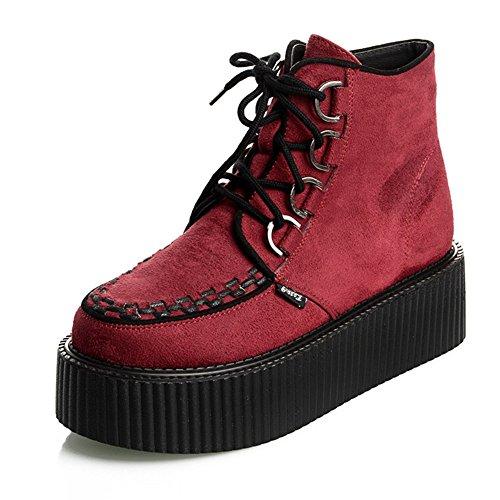 RoseG Damen Schnürsenkel Flache Plateauschuhe High Top Creepers Boots Rot Size37