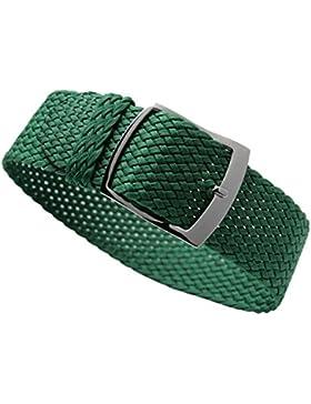 22mm grüne Luxus exquisite geflochtene Männer einteilige NATO-Stil Nylon Perlon Uhrenbänder Riemen