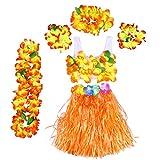 BESTOYARD Hawaii Kostüme Tropical Hula Gras Rock BH Blume Armbänder Stirnband Halskette 6 Stück (Orange)