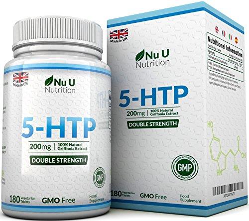 5-HTP 200 mg - Double Dose de 5-HTP - Cure de 6 Mois/180 Comprimés -...