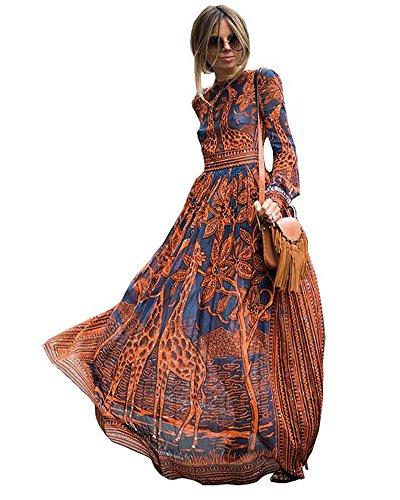 Tomwell Femmes Bohème Longue Maxi Robe de Plage Robes Bustier Été Floral Imprimé sans Bretelle Robe Orange FR 38