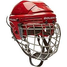 Bauer Helm 2100 Combo mit Gitter - Casco de hockey sobre hielo, color rojo, talla M