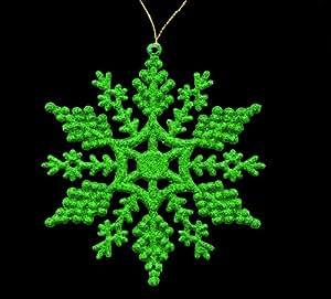 Pack de 6 vert scintillant suspendu flocons de neige Décorations de Noël