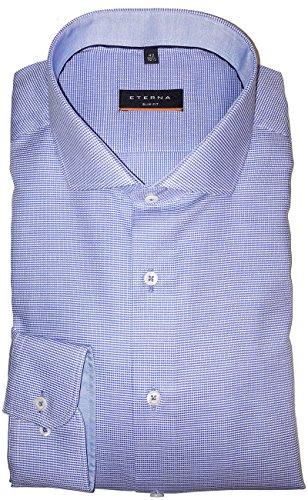 ETERNA Herrenhemd Slim Fit, blau, Struktur, regulär langarm Blau
