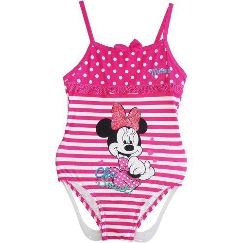 Disney Minnie Mouse - Bañador de una Pieza para niña, Color Rosa, Talla 3/4/5/6/7/8 años Rosa/Blanco...