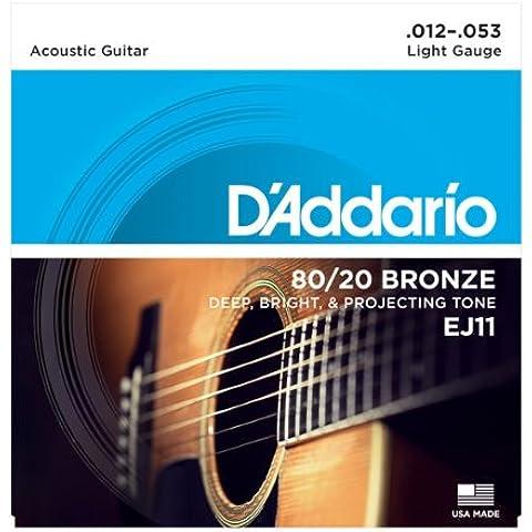 D'addario Bronze 80/20 Acoustic Guitar Strings EJ11 Luce (12-53) 2 confezione