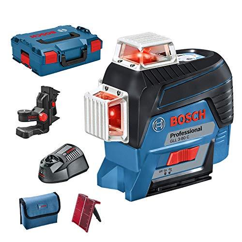 Bosch Professional GLL 3-80 C - Nivel láser (conexión Bluetooth, soporte, 1 batería x 2Ah, 12 V, alcance hasta 30m, en L-BOXX)